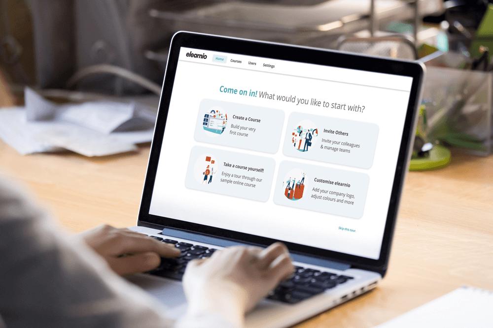 Das Bild zeigt den Startbildschirm der Talent Management Software elearnio für die digitale Wissensvermittlung