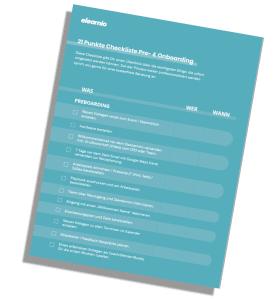 Das ist das Vorschaubild der Checkliste 21 Punkte Checkliste Pre- und Onboarding