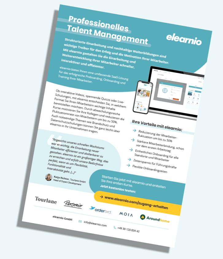 Talent Management mit elearnio_Onepager